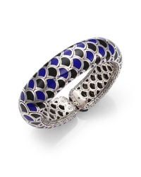 John Hardy | Naga Enamel & Sterling Silver Wide Flex Cuff Bracelet/Blue | Lyst