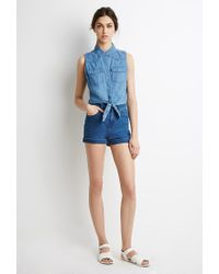 Forever 21 | Blue Knotted Denim Shirt | Lyst