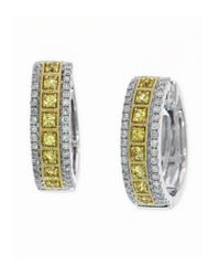 Effy | Yellow Sapphire, Diamond And 14k White Gold Hoop Earrings | Lyst