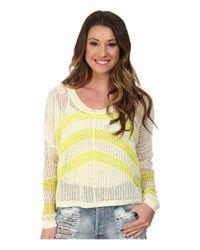 Roxy | Yellow Rocky Point Stripe Sweater | Lyst