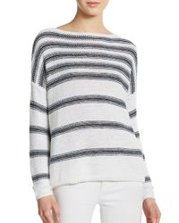 Vince - Blue Striped Linen Pullover - Lyst