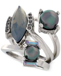 Vince Camuto | Metallic Rhodium-Tone Iridescent Glass Pearl Bypass Ring | Lyst