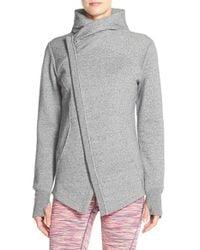 Zella | Gray 'snowdrift' Asymmetrical Zip Sweatshirt | Lyst