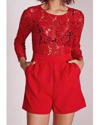 Missguided | Lace Top Long Sleeved Playsuit Red | Lyst