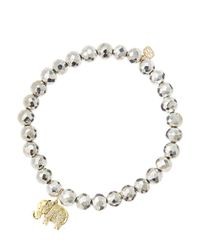 Sydney Evan Metallic 6Mm Faceted Silver Pyrite Beaded Bracelet With 14K Gold/Diamond Small Elephant Charm (Made To Order)