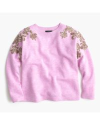 J.Crew - Pink Floral Sequin-sleeve Sweater - Lyst