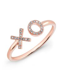 Anne Sisteron | Pink 14kt Rose Gold Diamond Xo Ring | Lyst