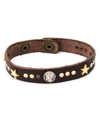 DIESEL - Brown Studded Bracelet for Men - Lyst