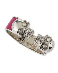 Alexander McQueen - Pink Leather Double Skull Cuff Bracelet - Lyst