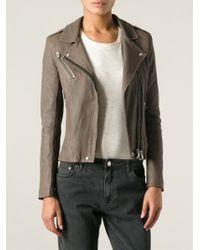 IRO - Brown 'Vika' Biker Jacket - Lyst