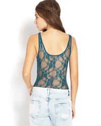 Forever 21 - Blue Be Seen Floral Lace Bodysuit - Lyst