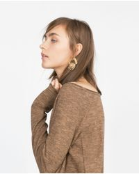 Zara | Brown Sweater With Side Pockets | Lyst