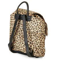 TOPSHOP - Black Premium Leopard Pony Backpack - Lyst