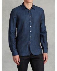 John Varvatos | Blue Linen Round Hem Shirt for Men | Lyst