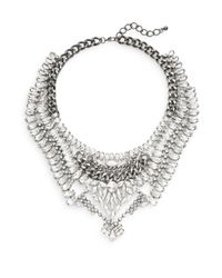 Cara Couture - Metallic Multi-row Statement Necklace/silvertone - Lyst