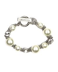 Givenchy | White Silvertone Toggle Bracelet With Faux Pearls And Crystal Accents | Lyst