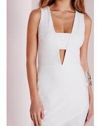 Missguided - Crepe Sleeveless Asymmetric Bodycon Dress White - Lyst