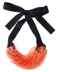 Emporio Armani - Red Beaded Strand Tie Necklace - Lyst