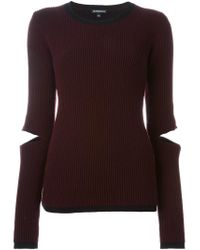 Ann Demeulemeester - Red Open Elbows Ribbed Sweater - Lyst