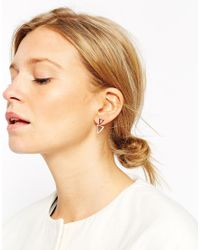ASOS | Metallic Rose Gold Plated Sterling Silver Open Triangle Swing Earrings | Lyst