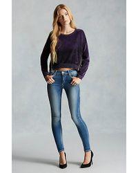 True Religion | Purple Moto Zip Velour Womens Sweatshirt | Lyst