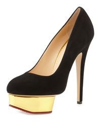 Charlotte Olympia - Black Dolly Suede Platform Pumps - Lyst