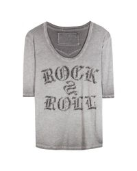 True Religion - Gray Embellished T-shirt - Lyst