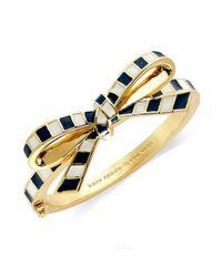 kate spade new york | White New York Goldtone Striped Bow Bangle Bracelet | Lyst