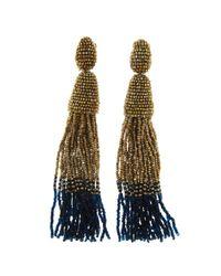 Oscar de la Renta | Metallic Classic Long Ombre Tassel Earrings | Lyst