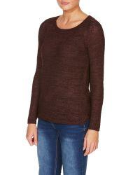 Vero Moda | Brown Long Sleeved Round Neck Jumper | Lyst