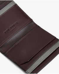 Ted Baker - Black Striped Leather Bi-fold Wallet for Men - Lyst