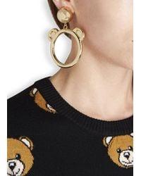 Moschino | Metallic Gold Tone Teddy Hoop Earrings | Lyst