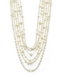 Kenneth Jay Lane | White Multi-row Mixed Strand Necklace | Lyst