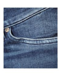7 For All Mankind - High Waist Skinny Slim Illusion Luxe Rinsed Blue Distressed - Lyst