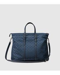 29112ad5104 Gucci Nylon Ssima Light Duffle Bag in Blue - Lyst