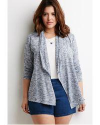 Forever 21 - Blue Plus Size Marled Shawl Collar Cardigan - Lyst