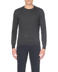 Corneliani - Gray Crew-neck Cashmere-silk Jumper for Men - Lyst