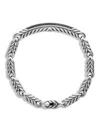 David Yurman   Metallic Chevron Id Bracelet With Black Diamonds for Men   Lyst