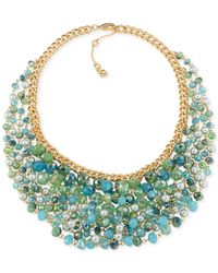 Carolee | Gold-tone Blue Green Multi-bead Cluster Necklace | Lyst