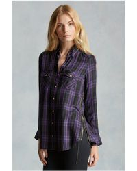 True Religion | Purple Georgia Plaid Zip Womens Shirt | Lyst