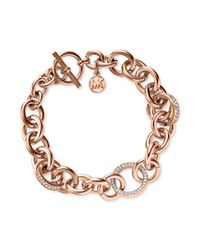 Michael Kors | Pink Rose Goldtone Crystal Pavè Link Toggle Bracelet | Lyst