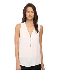 The Kooples | White Tank Top With A Zip Neckline In Silk And Jersey | Lyst