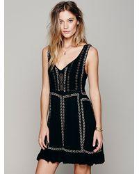221cf8998539 Lyst - Free People Daybreak Mini Dress in Black