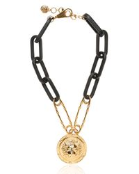 Versus | Black Lion Safety Pin Gold Plated Necklace | Lyst