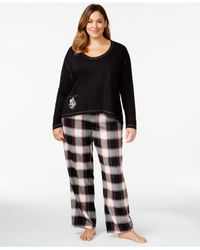 Lucky Brand | Black Plus Size Top & Plaid Pajama Pants Set | Lyst
