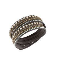 Swarovski | Gray Slake Crystal Brown Wrap Bracelet | Lyst