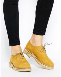 Mango | Natural Lulu Beige Brogue Flat Shoes | Lyst