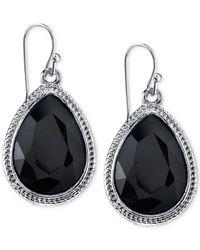 2028 | Metallic Silver-tone Jet Black Faceted Pear-shaped Drop Earrings | Lyst