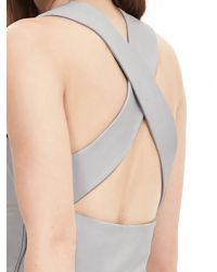 Banana Republic Gray Br Monogram Leather Criss-cross Dress