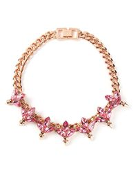 Mawi | Pink Crystal Leaf And Spike Necklace | Lyst